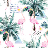Abstract tropical pattern with flamingo, protea and palm tree. Watercolor seamless print. Minimalism watercolour  illustration - 224126072