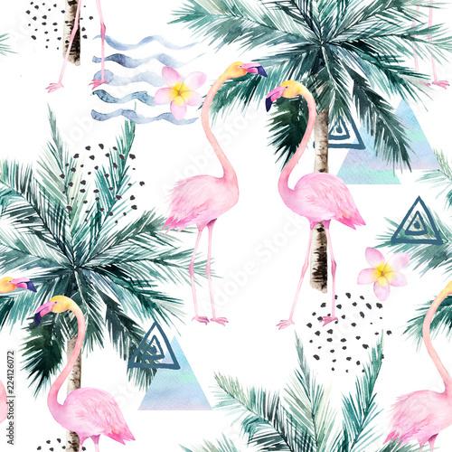 streszczenie-tropikalny-wzor-z-flamingo-protea-i-palmy-akwarela-bez-szwu-wydruku-minimalism-akwarela-ilustracja