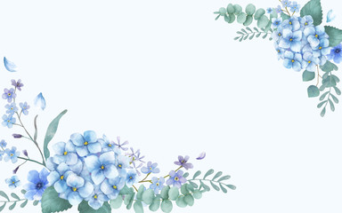 Blue themed greeting card with florals