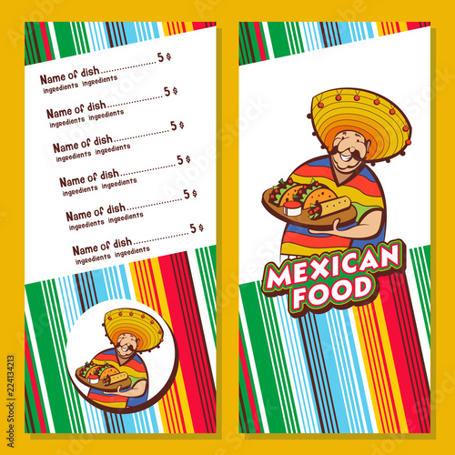 Mexican food. Cute Mexican holding a tray of Mexican food. A set of popular Mexican dishes. Vector illustration. © katedemian
