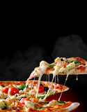 Pizza promotional flyer template. Tasty fresh pizza with mozzarella cheese, cherry tomatoes