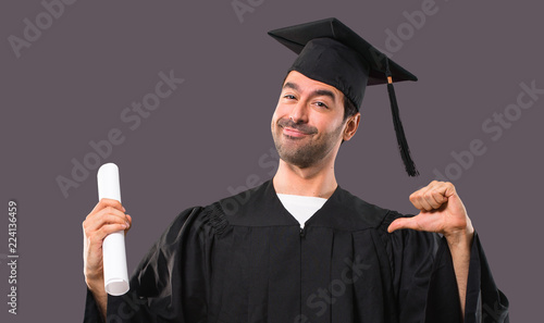 4031a41b2c Man on his graduation day University proud and self-satisfied in love  yourself concept on