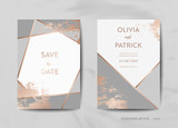 Wedding Invitation Cards Collection. Save the Date, RSVP with trendy texture background and gold geometric art deco frame design illustration in vector - 224140423