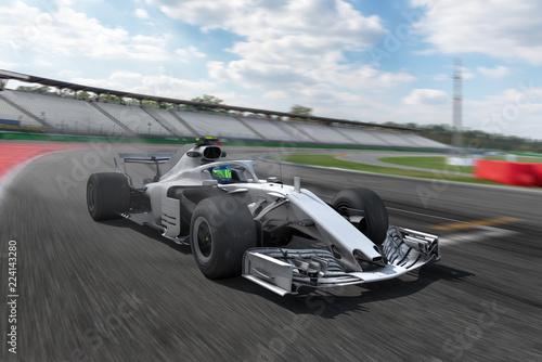 F1 Rennstrecke und weißer Rennwagen