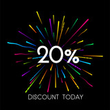 Sale 20% discount promo poster with colorful firework.