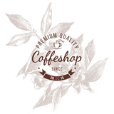 Coffeshop round emblem over hand sketched coffee plant branch - 224148201