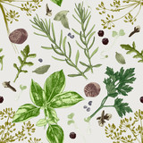 Seamless pattern with herbs and spices - 224148625