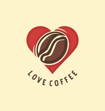 Love coffee creative vector image design. Logo design idea for coffee shop or cafe bar. Creative symbol. Minimalist unique icon with heart shape and coffee bean in negative space.