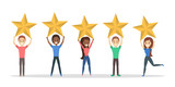 Happy satisfied people holding 5 huge golden stars