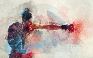Watercolor painting of boxer striking a blow