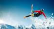 Leinwanddruck Bild - Skiing. Jumping skier. Extreme winter sports.