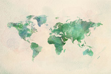 "Постер, картина, фотообои ""Watercolor vintage world map in green colors"""