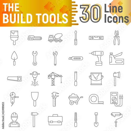 Build Tools Thin Line Icon Set Construction Symbols Collection