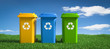 Leinwandbild Motiv 3D Illustration Mülltonnen Recycling Mülltonnen