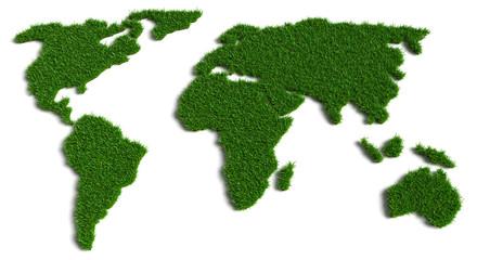 3D Illustration Weltkarte aus Gras