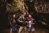 Three friends on a hiking trip