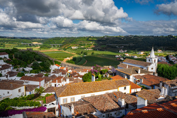 Top view of medieval town Obidos Obidos, Portugal, with surrounding landscape