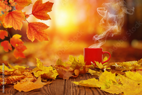 Jesienne liście i czerwona filiżanka kawy.