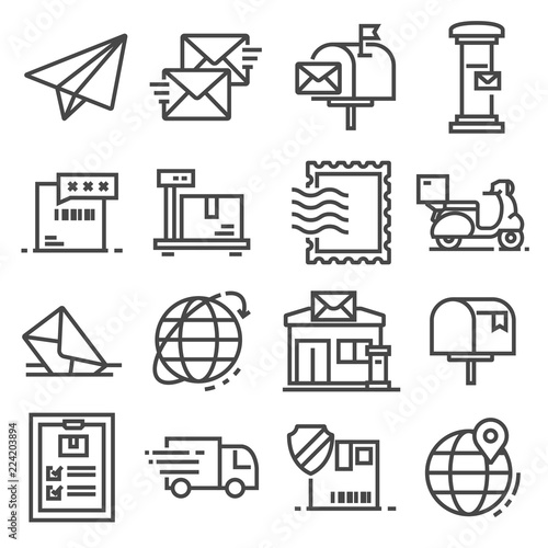 Vector line post service icons set on white background