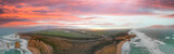 Panoramic aerial view of Twelve Apostles on a beautiful spring sunrise, Port Campbell National Park, Victoria - Australia - 224206414