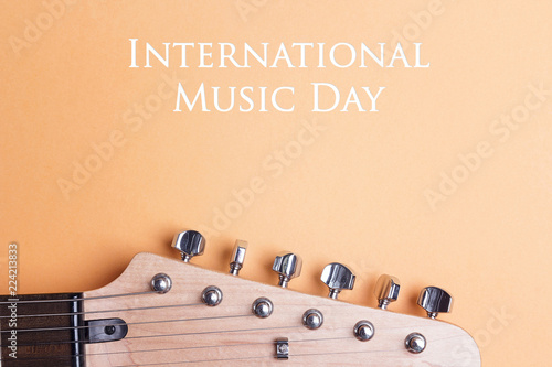 International Music Day background  with electric guitar neck. - 224213833
