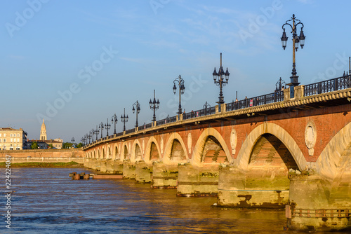 Saint Pierre bridge at Bordeaux, France - 224224067