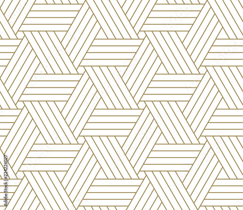 mata magnetyczna Modern simple geometric vector seamless pattern with gold line texture on white background. Light abstract wallpaper, bright tile backdrop.