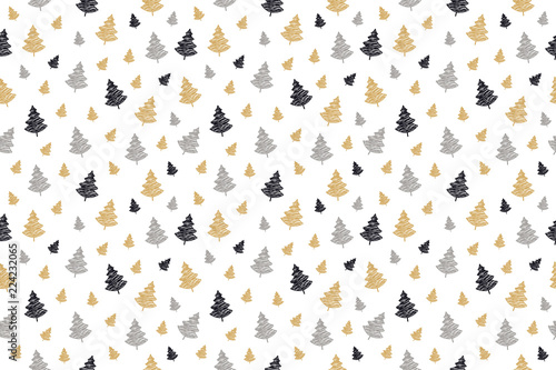 obraz lub plakat christmas tree seamless pattern scribble drawing isolated background