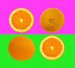 Leinwandbild Motiv Slices of orange fruit isolated on colorful purple and green pastel background - fresh modern minimalistic and creative image