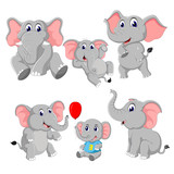 the collection of the elephant and baby elephant