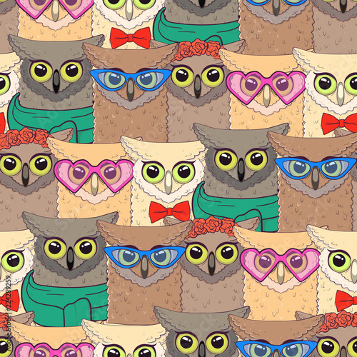 seamless-pattern-with-cute-owls-with-trendy-accessories-glasses-bow-tie-flowers-scarf-print-for-fabric-t-shirt-poster-vector-illustration