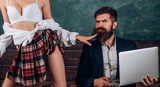 Sex education. First love. Womens Sexy Lingerie. Crazy sex. Dominant woman. Anatomy lesson and sex education in high school. Let's Talk Sex. Bearded sexology teacher looks at sexy female students.