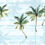 Watercolor palm trees, textured shadows on simple striped background - 224293814