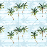 Watercolor palm trees, textured shadows on simple striped background - 224293816