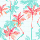 Watercolor palm trees, textured shadows on simple striped background - 224293827