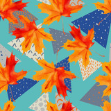 Watercolor maple leaf, triangles with minimal, grunge textures. - 224293834
