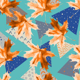 Watercolor maple leaf, triangles with minimal, grunge textures. - 224293838