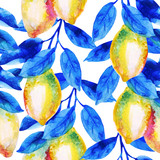 Watercolor lemon fruit branch with bright blue leaves seamless pattern. - 224293848