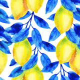 Watercolor lemon fruit branch with bright blue leaves seamless pattern. - 224293865