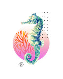 Watercolor seahorse, coral reef in gradient colored circle with doodle elements isolated on white background - 224293881