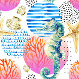 Watercolor seahorse, coral reef in gradient colored circle with doodle elements on white background - 224293889