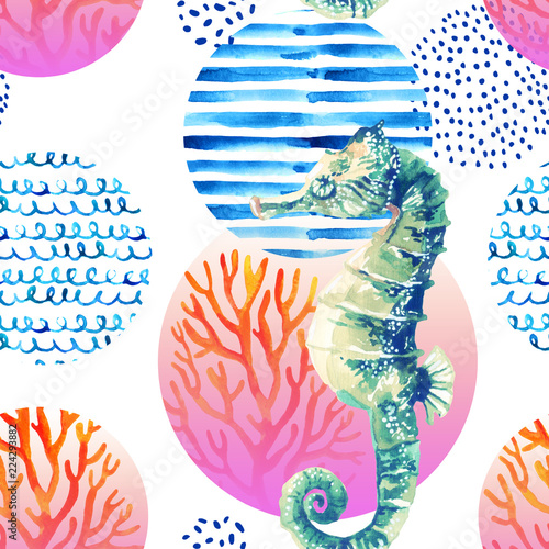 Watercolor seahorse, coral reef in gradient colored circle with doodle elements on white background - 224293882