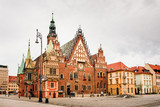 Morning scene on Wroclaw Market Square with Town Hall. Cityscape in historical capital of Silesia, Poland, Europe