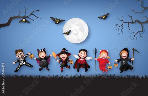 children in halloween costumes. - 224301858