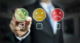 Businessman drawing thin line customer satisfaction rating - 224303091