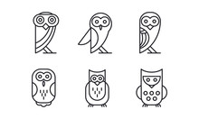 6 Different Owl Forest Bird Simple Linear Icons Elements For Business Card Tshirt Print Or Logo Sticker