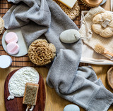 natural sponge, loofah, body and manicure brushes for green beauty - 224320884