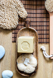 loofah, dry brush and traditional soap for minimalist body care - 224321259