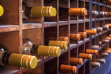 Collection of bottles of wine on wooden cases - 224322415