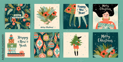 christmas and happy new year templates trendy retro style